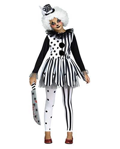 Horror-Shop 3-tlg. Killer Clown Harlekin Kostüm-Set für Mädchen an Halloween (Mädchen Killer Clown Kostüm)