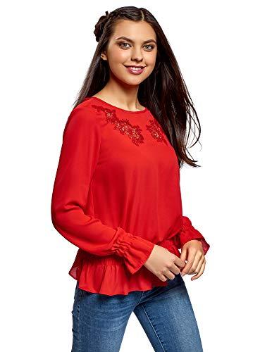 oodji Ultra Damen Bluse mit Lochstickerei und Gummizug, Rot, DE 40 / EU 42 / L