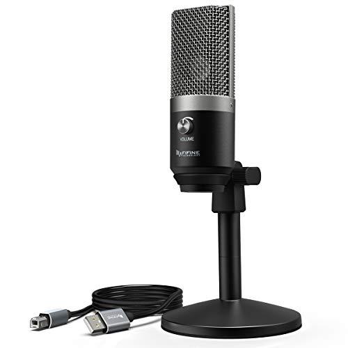 USB-Mikrofon, Voice-Overs in der Fifine mit Mikrofon für Mac und Windows-Computer, optimiert für Aufnahme, Streaming-, Podcasting, Youtube, Skype, (k670), Schwarz
