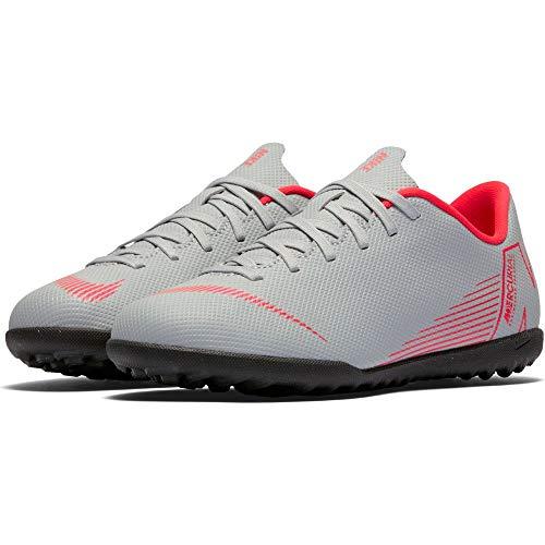 Nike Jr Vapor 12 Club GS Tf, Scarpe da Calcetto Indoor Unisex-Bambini, Multicolore (Wolf Grey/Lt Crimson/Black 060), 38 EU