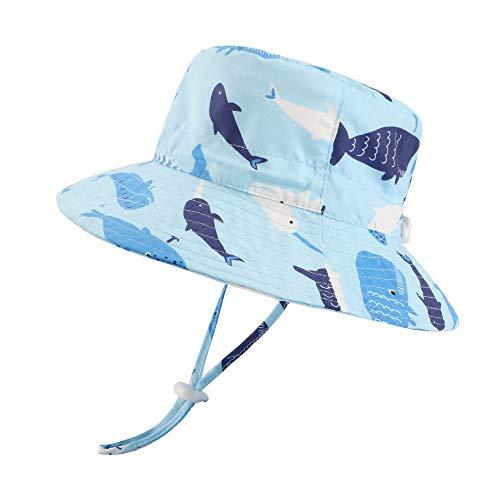 LACOFIA Baby Sonnenhut Kleinkind Jungen Sommer Mütze Kinder UPF 50+ Breiter Krempe Strand Cap mit Verstellbarem Kinnriemen Blauer Hai 4-6 Jahre