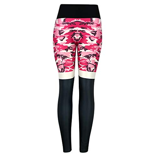 QIMANZI Sportleggings Damen Mode Tarnen Hohe Taille Yogahose Sport Gym Yoga Sportliche Hosen Jogginghose (Rot,XL) -