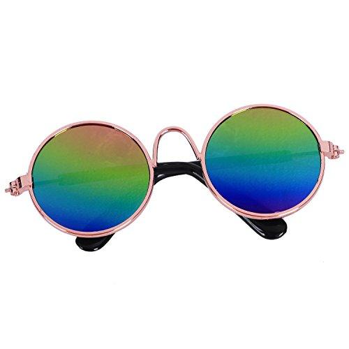 SODIAL Fashion Kleintier Sonnenbrille Hund Katze Brille Pflege Eye-Wear Schutz Welpen Katzen Brille Coole Foto Requisiten Funny Pet Products Gold + Farbe