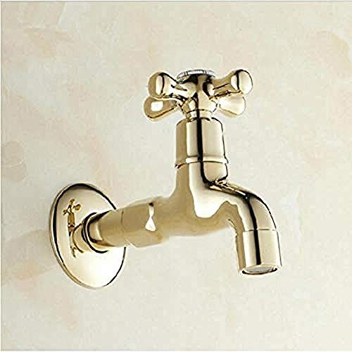 ttymei Wasserhahn Hohe Qualität Gold Bibcocks Wasserhahn Verwenden für Garten & Bad Wand Waschmaschine Wasserhahn Im Freien Wasserhahn -