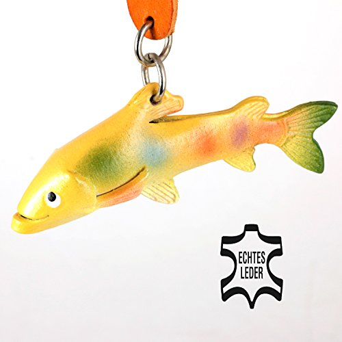 Regenbogenforelle Rainbow - Fisch Köder Schlüsselanhänger Figur aus Leder von Monkimau in bunt - Dein bester Freund. Immer dabei! - 5x2x4cm LxBxH klein, jeweils 1 (Kostüme Ideen Musicals)