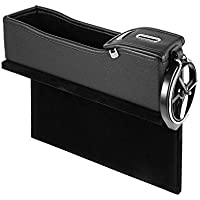 likkas PU Leather Seat Side Storage Box Multifunction Car Seat Gap Catcher Coin Collector Cup Holder