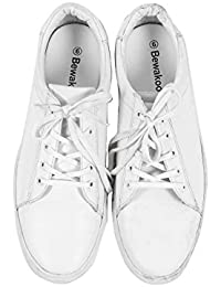 Bewakoof Men's Classic White Low Top Lace Up Sneakers Shoes