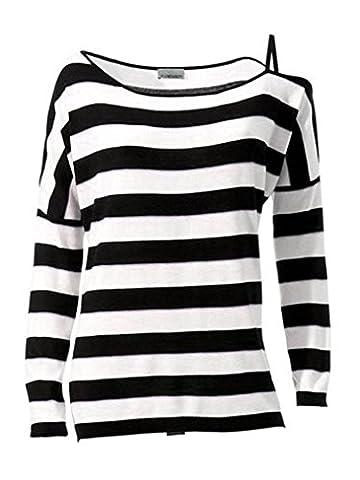 MANDARIN Damen Pullover Streifen schwarz weiß grün Feinstrick GR. 44