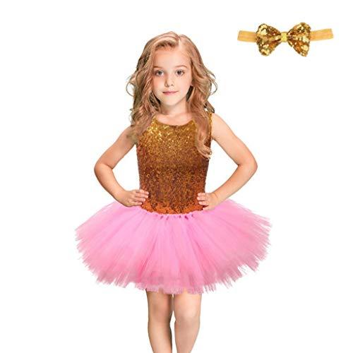 Olds Ein Kostüm Jahr Für - HUO FEI NIAO Mädchen Kleid ärmellose Pailletten Mesh Prinzessin Rock Tutu Jazz Latin Kostüm (Color : Pink, Size : 3-4 Years Old)