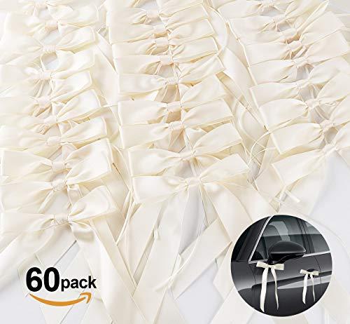 60x Antennenschleifen Cream Autoschmuck Autoschleifen Hochzeit Absofine Satinband Dekoration