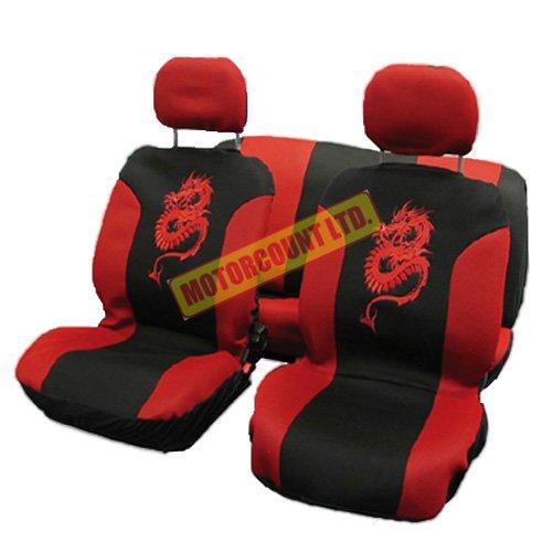 Dragon Sitzbezüge-Set für vorne und hinten-rot & schwarz