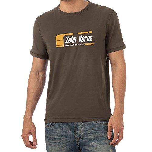 Texlab Zehn Vorne - Herren T-Shirt, Größe M, Braun -