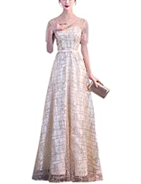 781b5b3680d LANG CAI NV MAO Gold Hochzeit Kleid Heißprägung Pulver Rundhalsausschnitt  Kleid mit 1 4 Ärmel