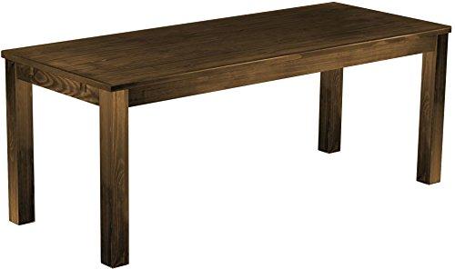 Brasilmöbel® Tisch 200x80 Rio Classiko - Eiche antik Pinie Massivholz - Größe & Farbe wählbar - Esszimmertisch Küchentisch Holztisch Echtholz - Esstisch ausziehbar vorgerichtet für Ansteckplatten