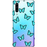 Oihxse Funda Conpatible con Huawei Mate 20 Pro Silicona Transparente Dibujos Mariposa Cover Suave TPU Gel Cristal Clear Delgada Anti- Arañazos Protección Carcasa Case,Azul 1