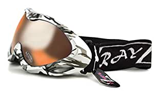 2014 Rayzor Professional UV400 Double Lensed Ski / SnowBoard Goggles, With a Silver Camouflage Frame and an Anti Fog Coated, Gold Mirrored Iridium Anti-Glare Wide Vision Clarity Lens.