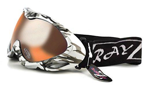 Rayzor Professionelle UV400 Doppel Linse versehenen Ski- / Snowboardbrille , mit einem Silber Camouflage-Rahmen und eine Anti-Fog Coated, Wolken Bernstein Blendweitsicht -Clarity-Objektiv.