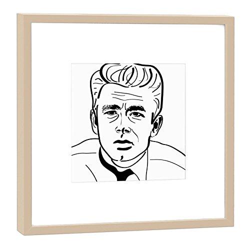 James Dean Heller (designersgroup RH-27-B100 Grafik Kunstdruck-Junge Wilde 27x27cm-Motiv: James Dean, Holz, Schwarz-Weiß 27 x 27 cm (Heller Rahmen))