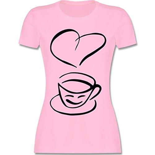 Küche - I Love Coffee - tailliertes Premium T-Shirt mit Rundhalsausschnitt für Damen Rosa