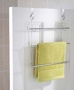 Portasciugamani triplo per la porta del bagno - Amazon porta asciugamani bagno ...