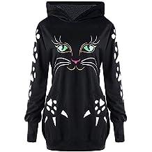 73540878300b Riou Damen Kapuzenpullover Hoodie Pullover,Frauen Elegante Blusen Sweatshirt  Langarmshirt Damen Sweatshirt Katze Print Hoody