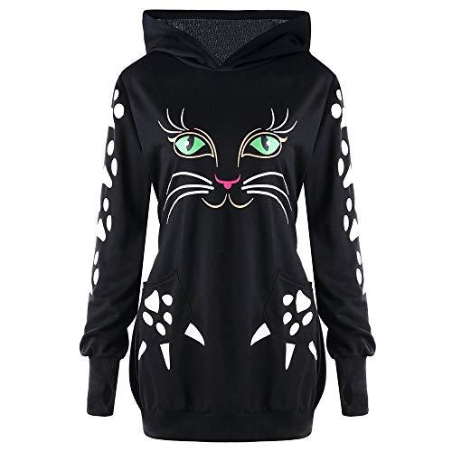 llover Hoodie Pullover,Frauen Elegante Blusen Sweatshirt Langarmshirt Damen Sweatshirt Katze Print Hoody mit Ohren mit Kapuze Pullover Tops Bluse (S, Schwarz) ()