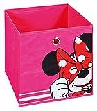 H24living Faltbox Aufbewahrungsbox Faltbar Faltkiste mit Fingerloch Walt Disney Disneywelt Micky Maus Motiv Minnie Maus Regalbox Regalkorb Korb Stoffbox Spielkiste Raumteiler Regale 32x32x32cm Rosa