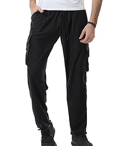 Pantaloni da Jogging da Uomo Sportivi Casual Cargo Pantaloni Nero