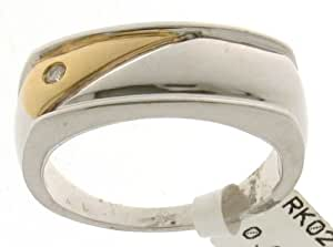 Classical 9 ct 2 Colour Gold Men Diamond Ring Brilliant Cut 0.04 Carat I-I1 Size Y