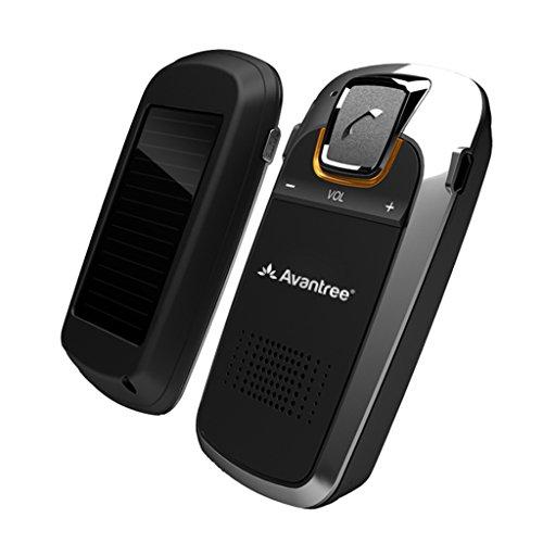 Avantree Kit Vivavoce Bluetooth per Auto con Ricarica Solare, per Chiamate Viva Voce, GPS e Musica, Supporto per Aletta Parasole, può Collegare Due Telefoni Simultaneamente [2 Anni Garanzia]