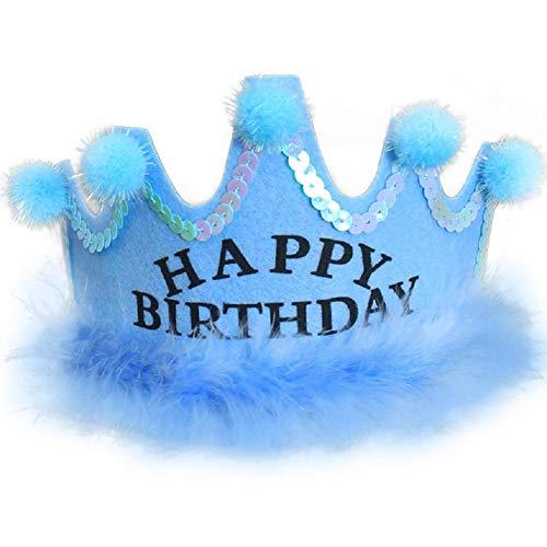 Baby Geburtstag Hut Prinzessin Tiara Pom Krone König Sparkle Gold Flower Style für Kinder Erwachsene Kinder ()