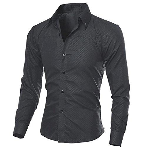 Kword maglietta di uomo eleganti,uomo business camicia casual maniche lunghe camicie slim fit top camicetta uomo felpe tumblr (nero, s)