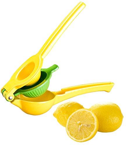 Rosenstein & Söhne Hand Hebel Zitruspresse: 2in1-Metall-Zitruspresse, 2 Schalen für Zitronen & Limetten, Ø6&7,5cm (Zitruspresse zum Verfeinern von Cocktail, Dressing, Salat, Soße)