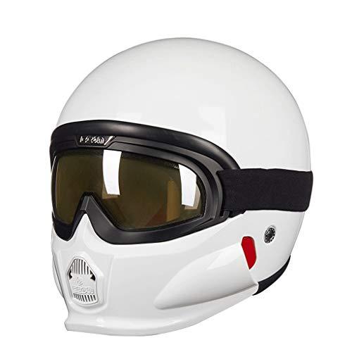 MTFZD Motorrad Jahrgang Kombination Helm , Mit Brille DREI Modi Sind Kostenlos Zu Veränderung Einstellbar Zum Draussen Reiten (Color : White, Size : XL61-62cm)