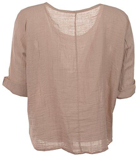 Femmes italienne Quirky Lagenlook lin uni Comfy Casual Mesdames Blouse Crop Top Tailles Plus Bébé rose