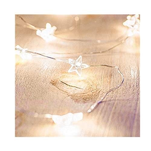 Ankamall Elec 1PC 30 LED 10 Ft batteriebetriebene geführte Kupferdraht-Schnur-Stern-Form-warmes Weiß für Feiertags-Dekoration/Weihnachtstag mit Schalter
