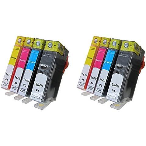 Conjunto de 8 cartuchos de tinta XL con chip integrado: 2 x Negro 364BK XL / 2 x Azul 364C XL / 2 x Rojo 364M XL / 2 x Amarillo 364Y XL for HP Photosmart 5520 / 5524 / 6510 / 6520 / 7510 / 7520 e-All-in-One