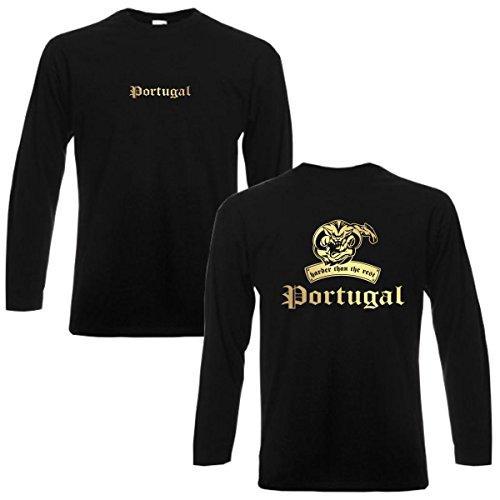 Longsleeve PORTUGAL harder than the rest langarm T-Shirt Herren Länder Fan Shirt cooles Langarmshirt oversize Übergrößen bis 6XL (WMS08-49b) Mehrfarbig