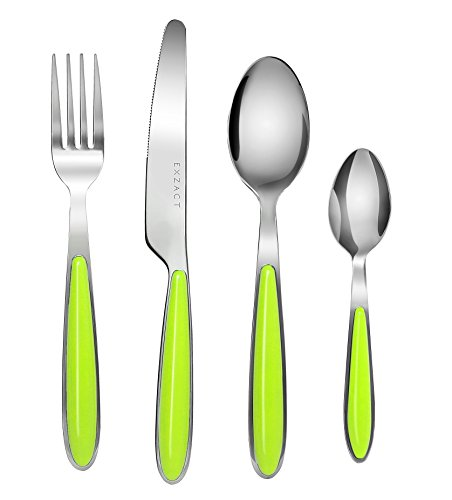EXZACT EX07-16 PCS Cutlery Set - stainless steel with color handles - 4 Forks, 4 Dinner Knives, 4 Dinner Spoons, 4 Teaspoons (Green x 16)