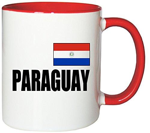 Mister Merchandise Kaffeetasse Paraguay Fahne Flag Teetasse Becher , Farbe: Weiß-Rot