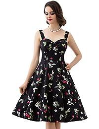 Dresstells Schultergurt 1950er Retro Schwingen Pinup Rockabilly Kleid Faltenrock
