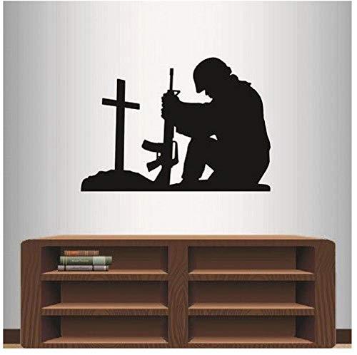 Soldat Kniend Beten Kreuz Abnehmbare Aufkleber Wohnzimmer Wohnkultur Vinyl Wandaufkleber für Schlafzimmer Jungen Kunst Poster57X80 cm -