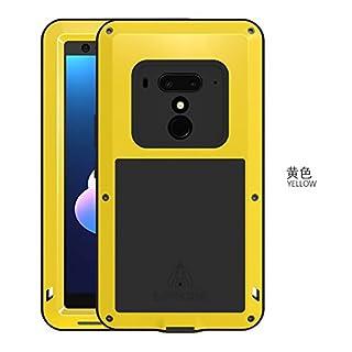 Original Love MEI, HS-Top,Aluminium Leistungsstarke stoßfest Staubschutz Gorilla Glass Metal Case Schutzhülle hüllen case Handy Schutz Schale für HTC U12+ (Gelb)