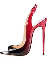 elashe Scarpe da Donna - Peep Toe Slingback Sandali - Tacco a Spillo con  Cinturino Caviglia 8894cc718a7