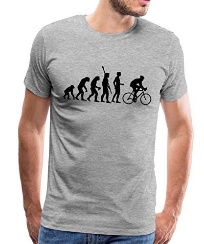 Spreadshirt Evolution Radfahrer Rennrad Fahrrad Männer Premium T-Shirt, M, Grau meliert -