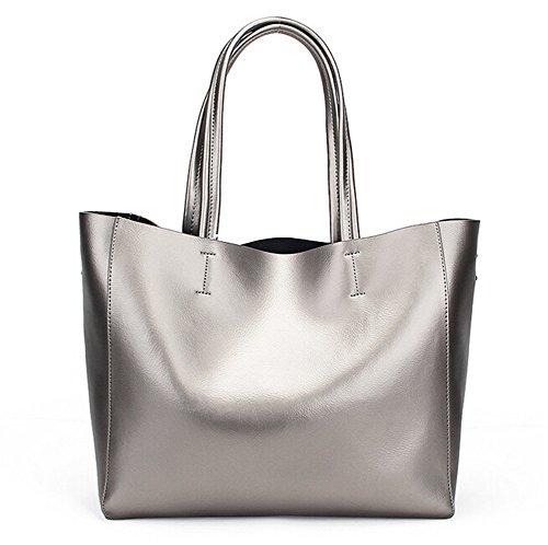 Santwo in vera pelle moda tote borsa Set per le donne, Silver (oro) - BB0078-silver