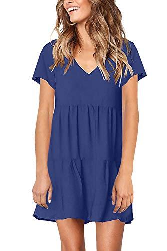 BesserBay Damen Kurzarm Kleid Casual Tunika Sommer Schwingen Kleid Freizeit Bluse Blau S