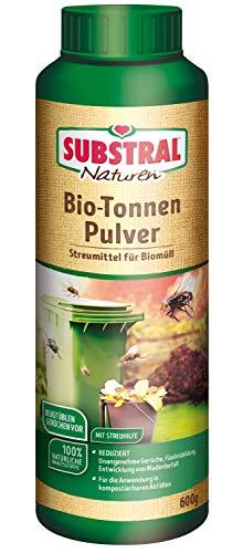 Substral Naturen Biotonnenpulver gegen Maden, Mülltonnenpulver für den Biomüll, gegen Madenbefall und ungenehme Gerüche in der Biotonne, vermindert Fliegenmaden- und Schimmelentwicklung , 600g