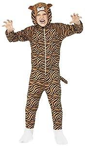 Smiffys Traje Tigre, marrón, Todo en Uno con Capucha