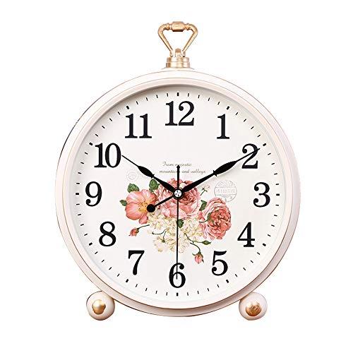 LJF-Desk clock Mantel- / Tischuhr Wohnzimmer Kreative Tischdekoration Stummschaltuhr Digitaluhren, Weiß, 31 × 26cm